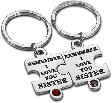Llavero con dise/ño de hermanas 2 unidades de Big Sis Little Sis llavero llavero para mujer y ni/ña