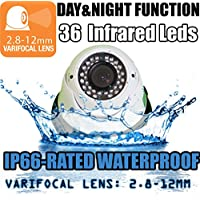 VENTECH CCTV 1000TVL Outdoor Dome Security Camera with Night Vision and 2.8-12mm Varifocal Lens aa