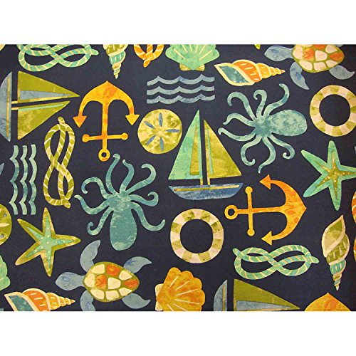 Seapoint Full Size Futon Cover, 54 Inch x 75 Inch - Proudly Made in USA (Seaside Coastal, Beach House Nautical Theme, Sailing, Boats, Ocean Water, Maritime, Sea Shells, Starfish)