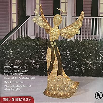 48 lighted angel shimmering champagne christmas decoration - Lighted Angel Outdoor Christmas Decorations