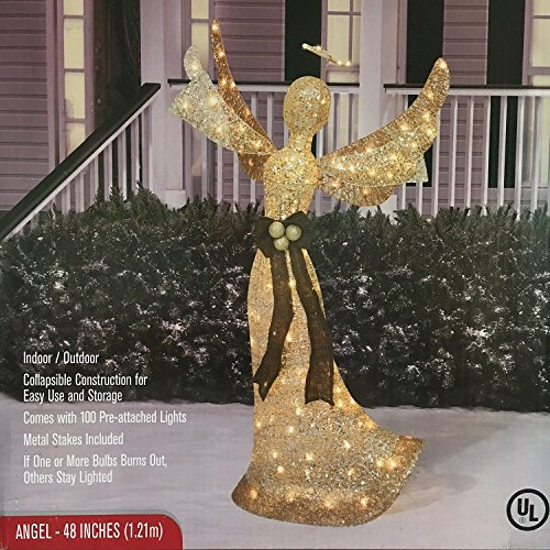 48'' Lighted Angel Shimmering Champagne Christmas Decoration by Good Tidings