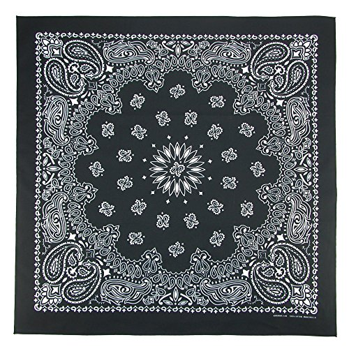CTM Unisex Cotton Giant-Danna Large Bandanas, Black