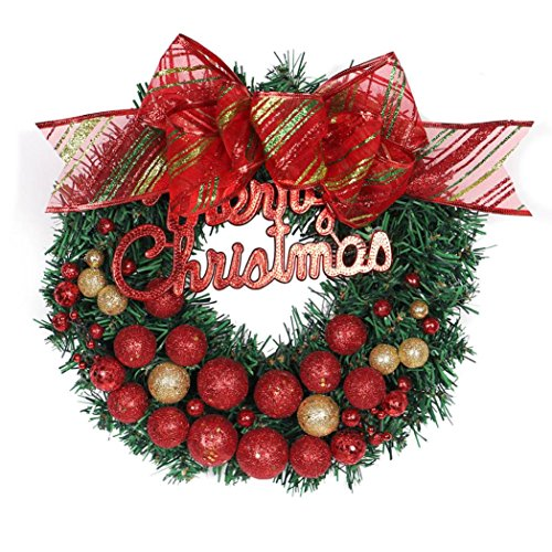 - Hot Sale!!Merry Christmas Wreath 30cm Window Door Decorations Gold Powder Ball Ornament (Red)