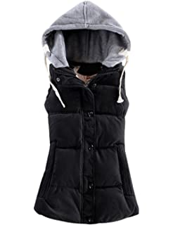 2cbd3df294ede Yeokou Women s Slim Sleeveless Quilted Removable Hooded Winter Puffer Vest  Coat