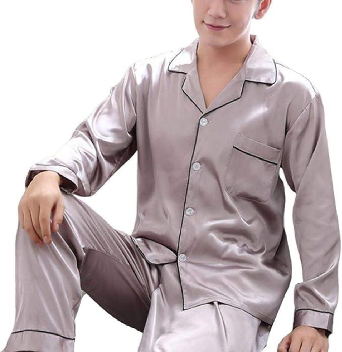 Spirio Mens Long Sleeve Sleepwear Buttons Flannel Nightwear Pajama Sets