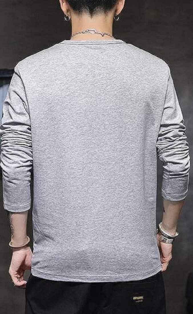 F.Shanlihong Mens Casual T Shirt Long Sleeve O-Neck Sports Tops Plus Size T-Shirt