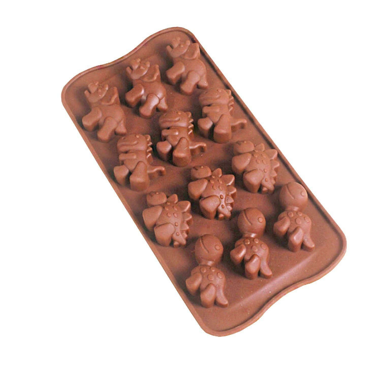 Chocolate Molds Toys Smiley Animal Zoo Face Dinosaur Silicone Candy Chocolate Soap Molds Baking