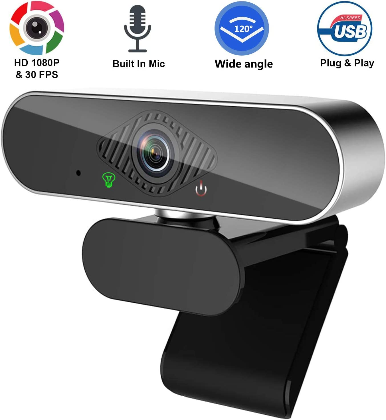 1080P Webcam with Microphone, HD PC Webcam Laptop Plug and Play USB Webcam Streaming Computer Web Camera with 120-Degree View Angle, Desktop Webcam for Video Calling Recording Conferencing-WB-3B