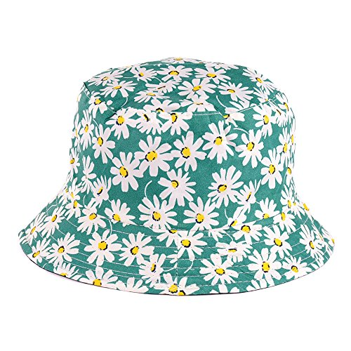 BYOS Reversible Packable Summer Daisy Printed Cotton Bucket Sun Hat,Various Patterns (Daisy Mint) ()