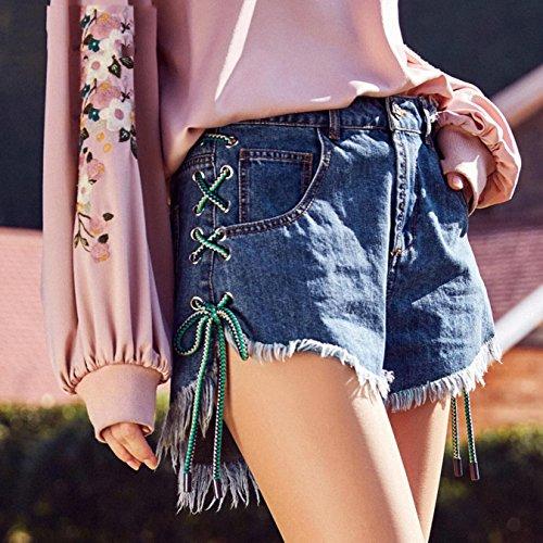 OcAuWerE Womens Casual Lace-up Tassel High Waist Denim Short Jeans by OcAuWerE (Image #1)