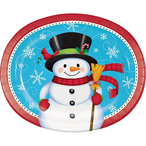 (Creative Converting 332059case Snowman and Penguin Oval Plates One Size)