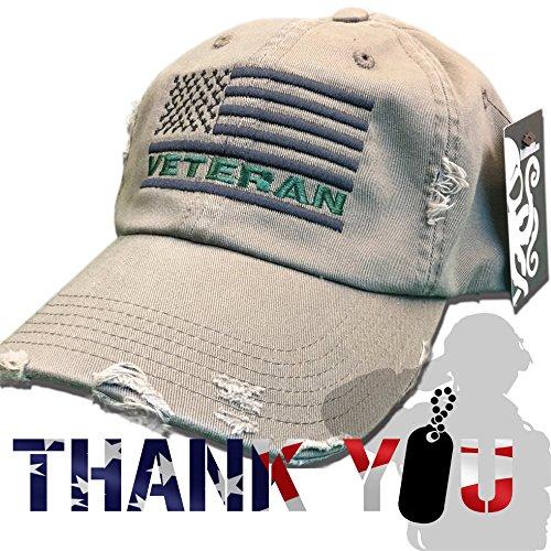Veteran American Flag Hat Olive Green U.S. USA OIF Vietnam combat olive drab distressed cap
