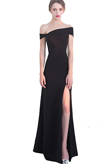 Xfcastle Womens Off Shoulder Slit Prom Dress Black Formal Long