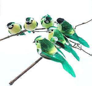 6pcs Green Artificial Bird,Small Fake Decorative Foam Birds for Crafts Garden,Garden Decorations Outdoor Fake Bird