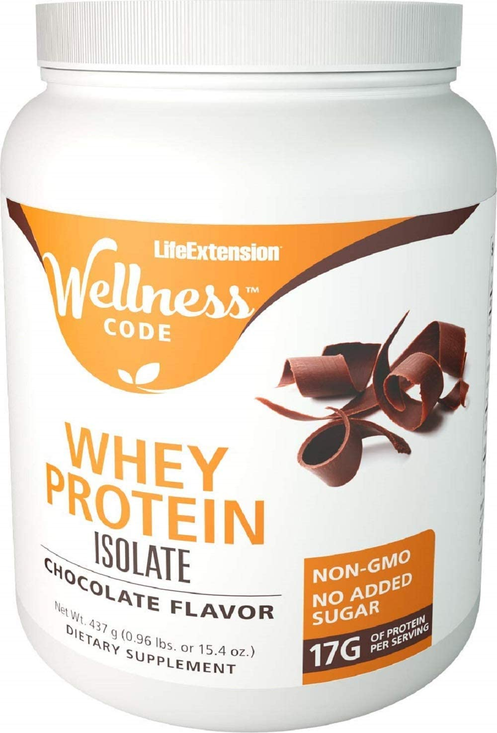 Life Extension Wellness Code Whey Protein Isolate Chocolate Flavor Supports a healthy immune function 437 grams