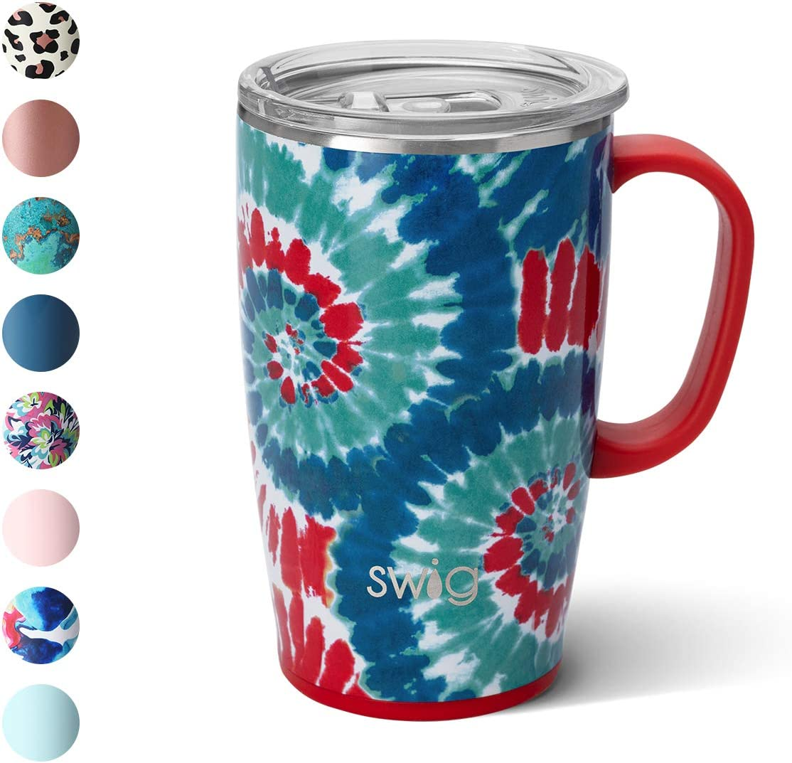 Swig Life 18oz Triple Insulated Travel Mug with Handle and Lid, Dishwasher Safe, Double Wall, and Vacuum Sealed Stainless Steel Coffee Mug in Rocket Pop Print (Multiple Patterns Available)