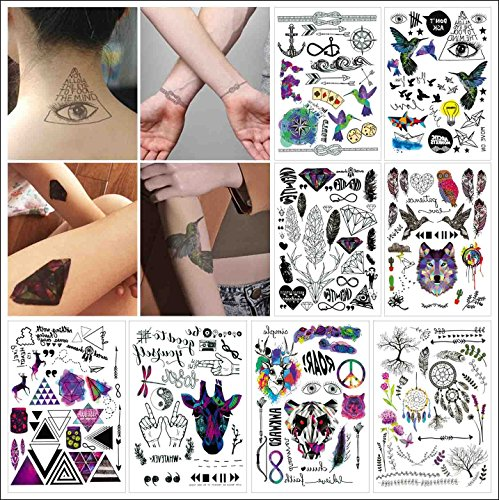 (COKOHAPPY 8 Sheets Temporary Tattoo Over 100+ Design for Women Men Dream-Catcher,Wolf, Diamond, Deer, Bird)