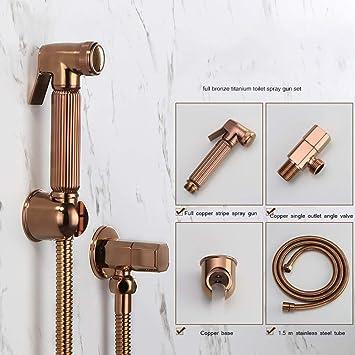Handheld Toilet Spray Gun Suit Partner Toilet Flusher Bidet Full Copper Booster Nozzle Bidet Toilet Sprayer Rose Gold Bidets Amazon Canada