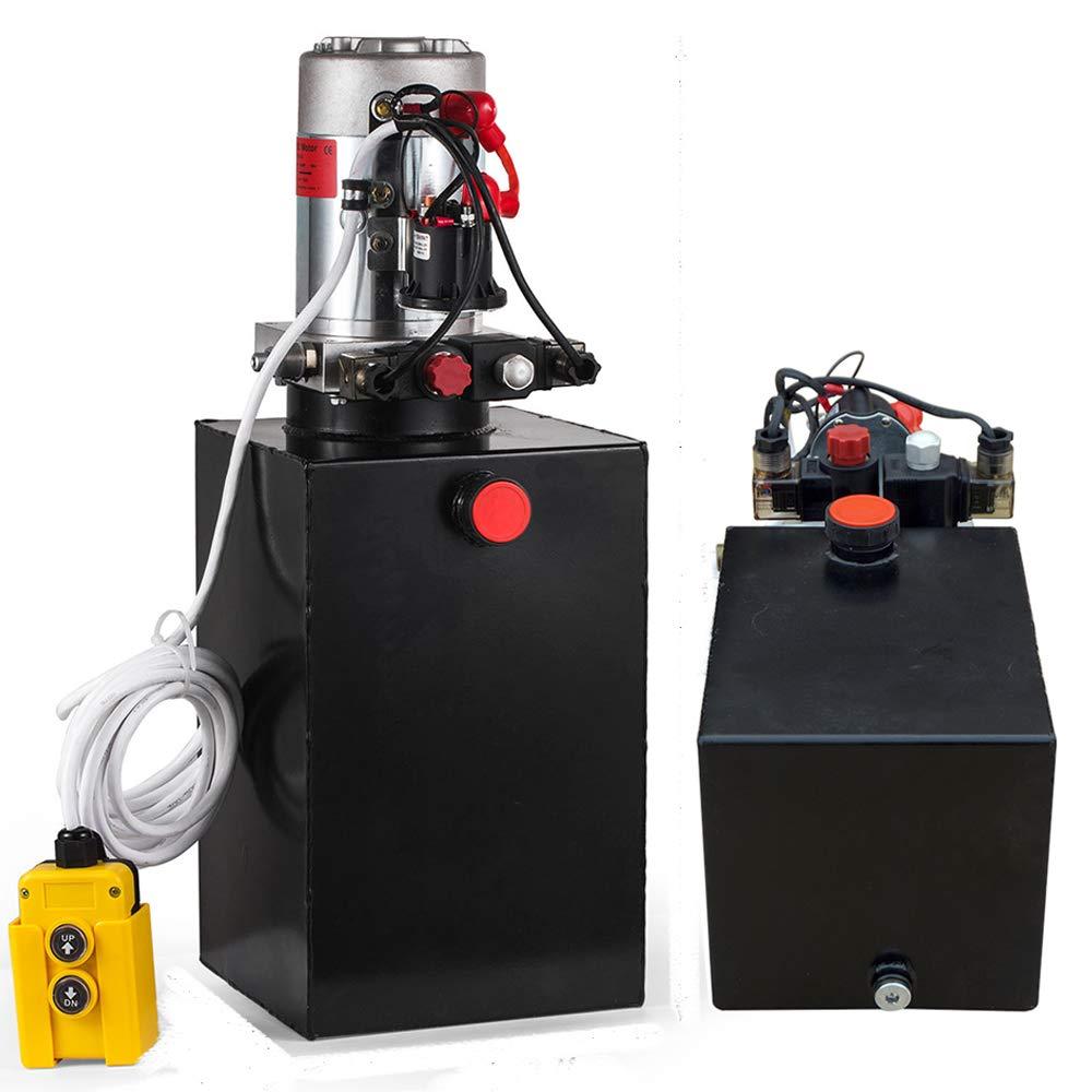 ECO LLC Double Acting 12v Hydraulic Power Unit 6 Quart 3200 PSI Max. Hydraulic Pump DC 12V Dump Trailer
