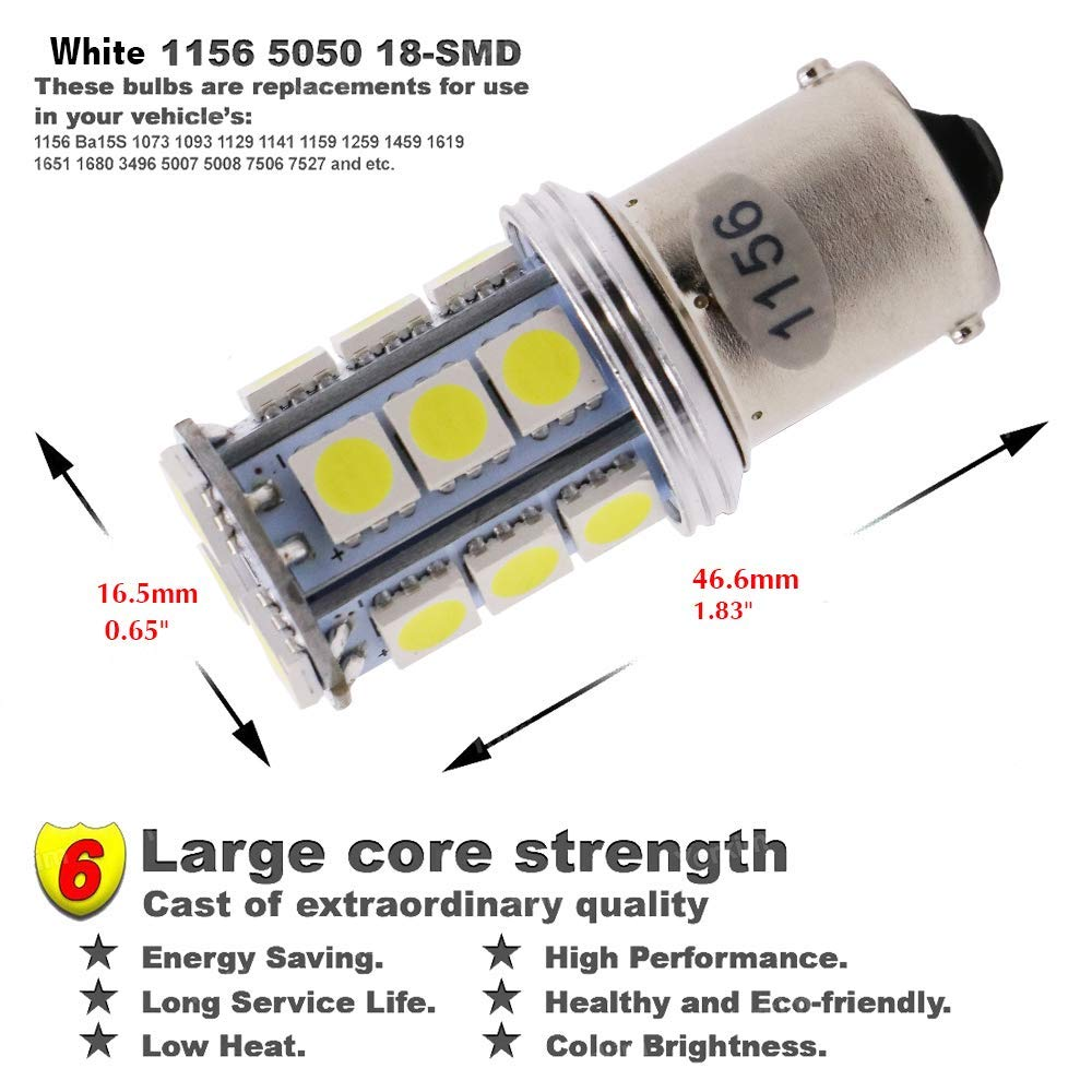 12-Pack BA15D 1142 Bright White LED Light 12V-DC AMAZENAR 5050 18 SMD Car Replacement For Interior RV Camper Lighting Brake Parking Turn Signal Light Lamps Tail BackUp Bulbs