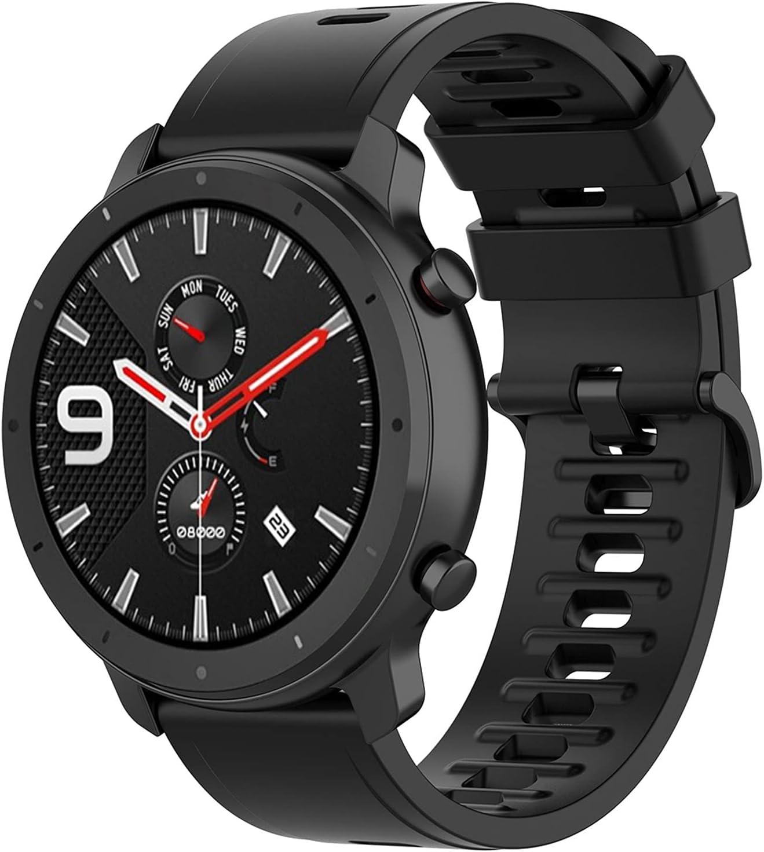 Braleto Correa Compatible con Amazfit GTR 47mm / Pace/Stratos, Correa de Reloj de 22mm para Amazfit GTR 47mm (Negro)