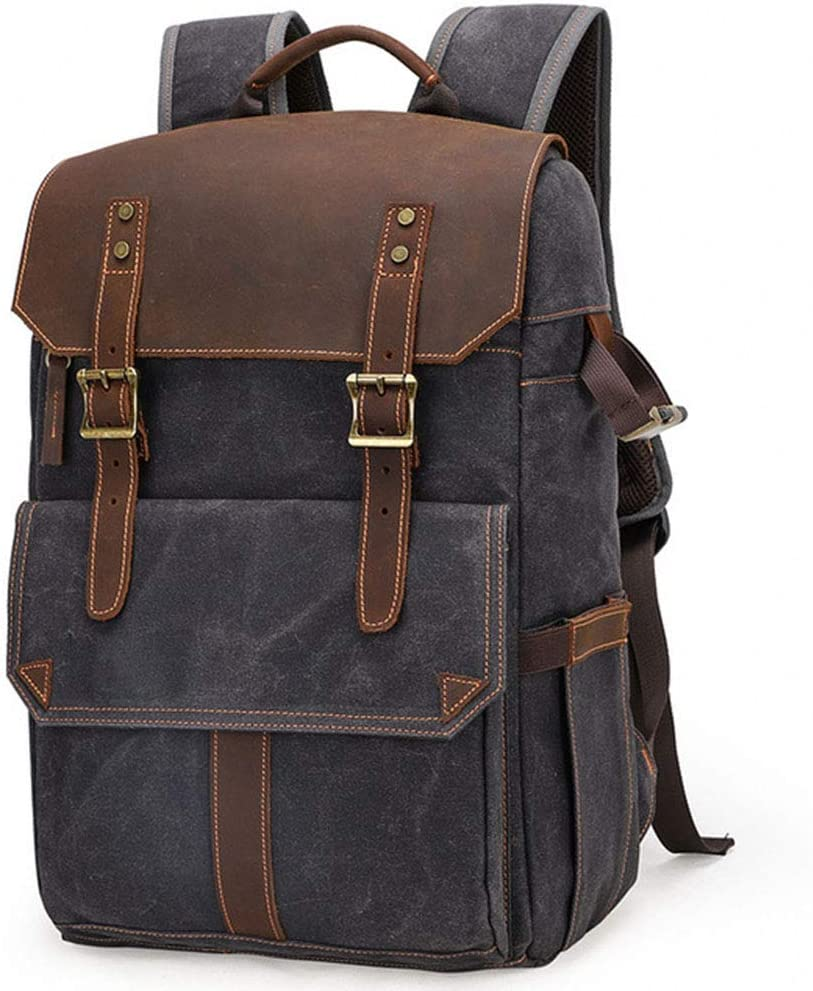 WOTR Camera Backpack for SLR//DSLR Cameras,Premium Vintage Travel Canvas Photography Backpack Waterproof Canvas Camera Backpack 15 Laptop Tripod Mount