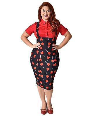 a9f8c7e1c8 Unique Vintage Plus Size 1950s Style Black & Red Heart Lollipop Sabrina  Suspender Skirt at Amazon Women's Clothing store: