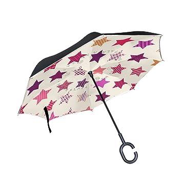 TIZORAX Paraguas Reversible de Doble Capa con Mango en Forma de C para la Lluvia,