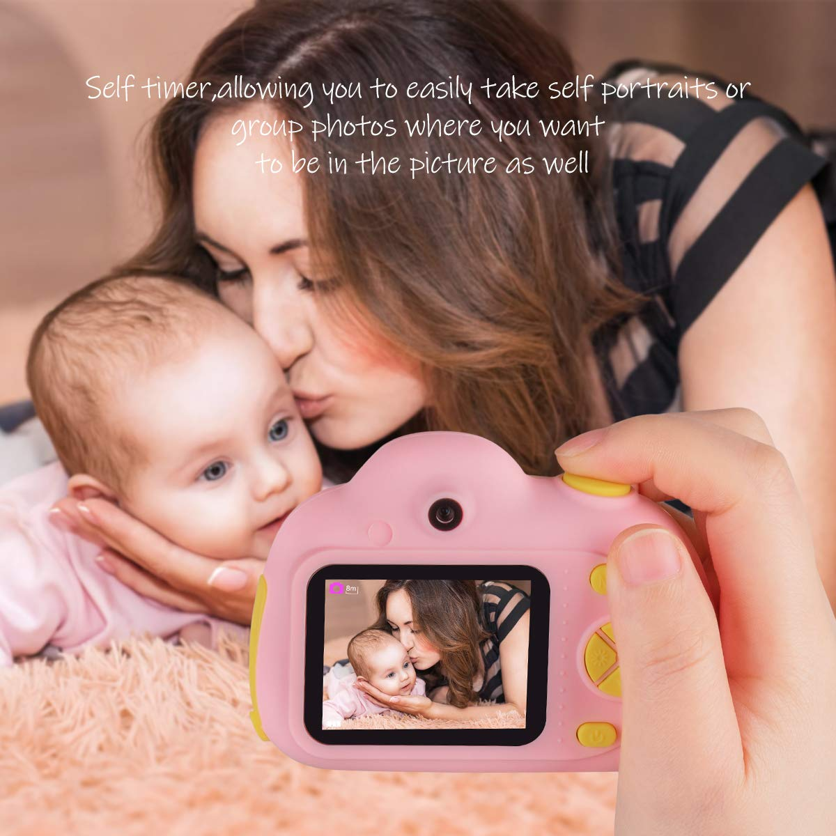 Kids Cameras Dual Selfie Digital Camera HD Video Recorder Action Camera Camcorder for 4-9 Year Old Kids Birthday Festival Gifts Toys for Children Boys Girls 2.0'' LCD Screen 4X Digital Zoom (Pink) by Tyhbelle (Image #4)