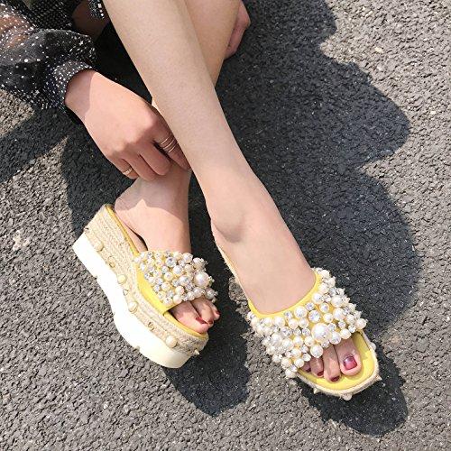 SCLOTHS Amarillo Mujer antideslizante Verano artificiales Pendiente perlas grueso exterior Chanclas inferior rHvfwr