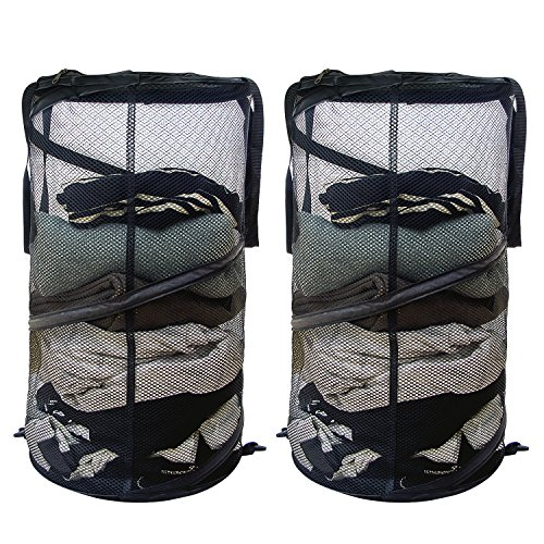 ACMETOP Durable Mesh Pop up Laundry Hamper, Collapsible Laundry Basket for Dirty Clothes / Toys Storage / Dorm Room Accessories - Reinforced Seams, Zippered Lid, Black - 2 Pack