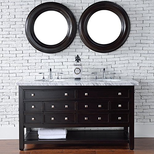 outlet Double Vanity with Carrara White Marble Top