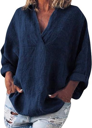 COZOCO Camisa De Gran Tamaño De Color Liso para Mujer De Algodón Y Lino De Manga Larga con Cuello En V En La Camiseta: Amazon.es: Ropa y accesorios