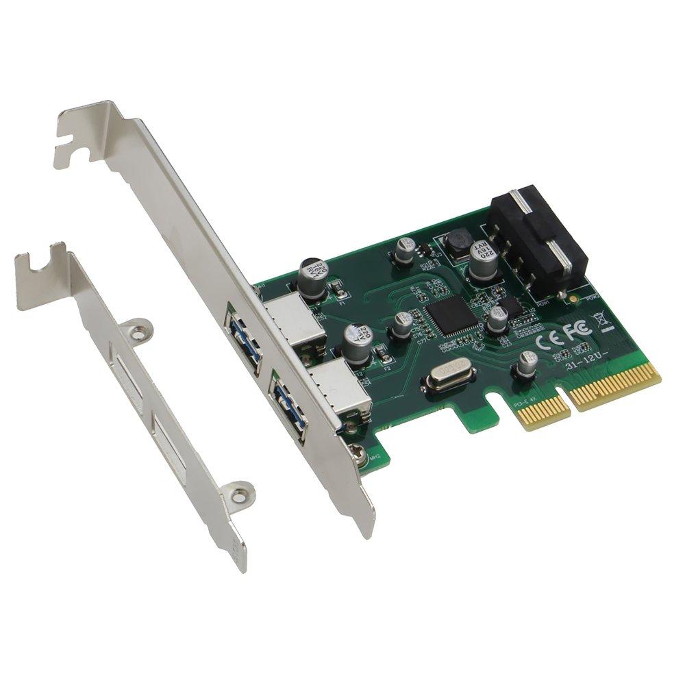 SEDNA - Adaptador PCIE USB 3.1 de 2 puertos tipo A (10 Gbps) con soporte de perfil bajo