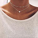LittleB Simple Double-deck Choker Heart Pendant Necklace for women and girls. (Silver)