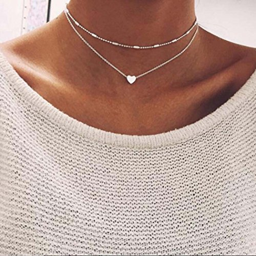 Yfe Heart Pendent Necklace Double Layered Necklaces Jewelry for Women and Girls Satellite Choker ()