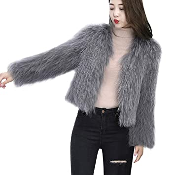 Amazon.com: Womens Shaggy Faux Fur Warm Coat Solid Color ...