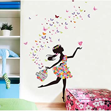 Hupplle® Removable DIY PVC Wall Sticker Decor Flower Fairy Princess  Butterfly Dancing Girls, Sweet