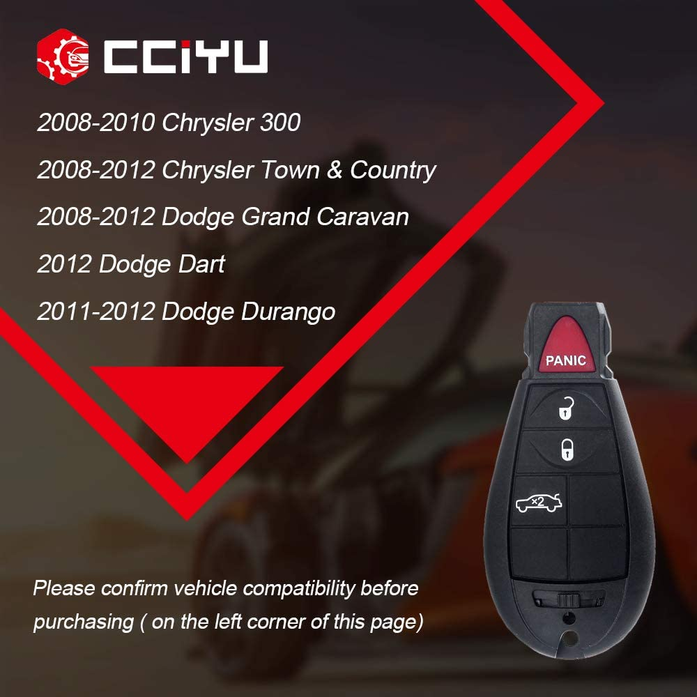 cciyu X 1 Flip Key Fob with Key Blade 4 buttons Replacement fit for 08 09 10 11 12 13 Chrysler 300 Jeep Grand Cherokee Dodge Challenger Charger Magnum Series with FCC M3N5WY783X