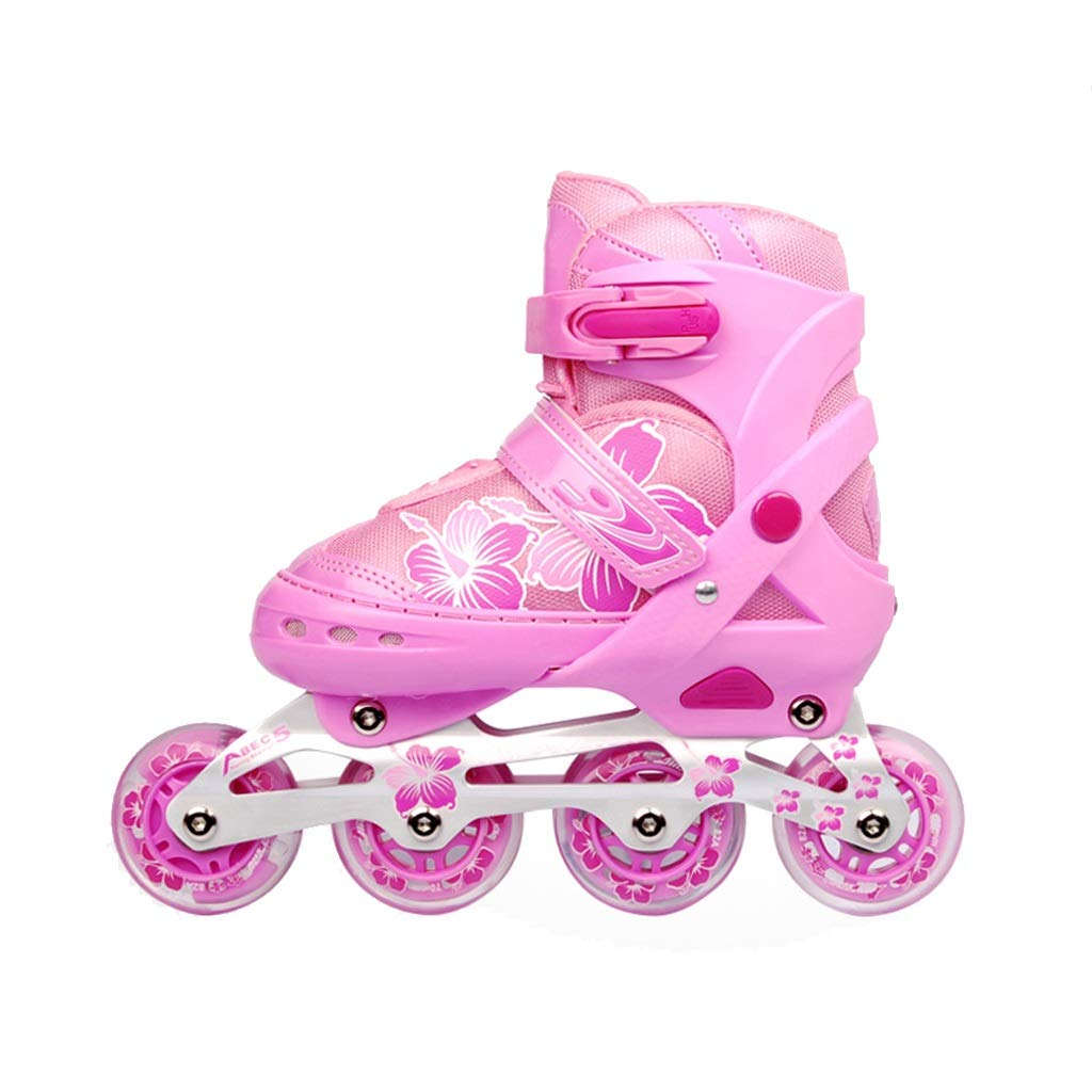 YANGXIAOYU Beginners Children's Inline Skates, Professional Roller Shoes, Anti-Collision Shock Single Flash Wheel, Helmet + Protective Gear, Blue Red Pink (Color : Pink, Size : M(35-38))