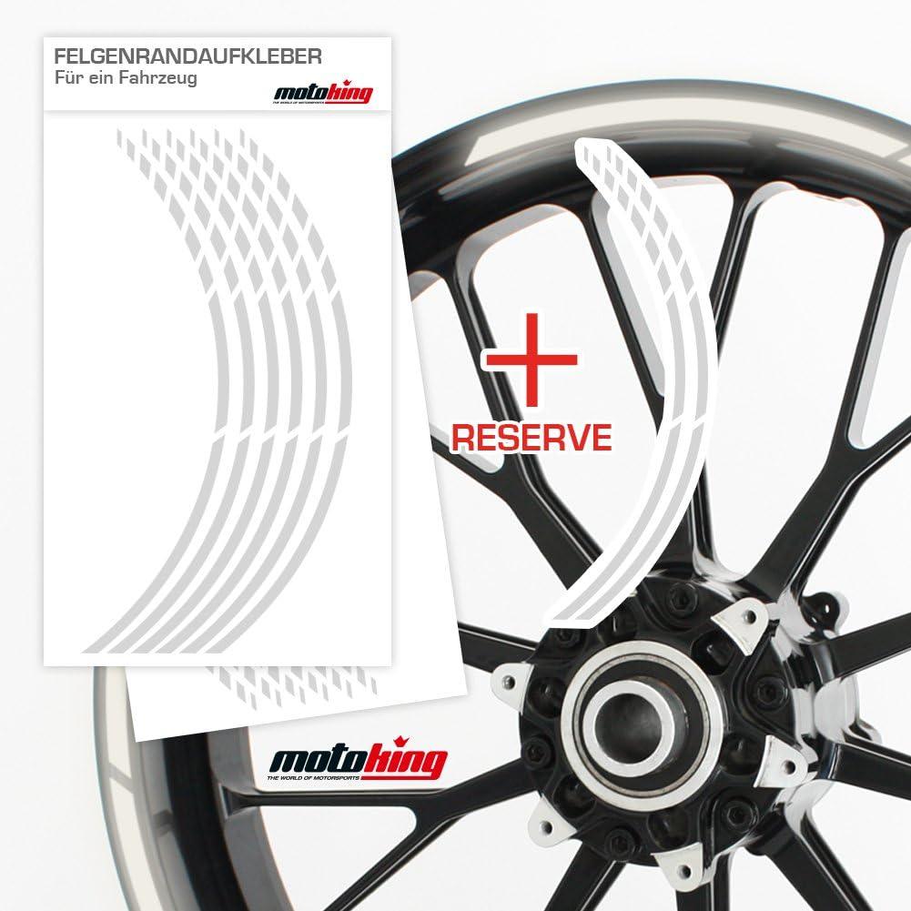 Felgenrandaufkleber Gp Im Gp Design Passend Für 17 Zoll Felgen Für Motorrad Auto Mehr Reflektierend Weiß Auto