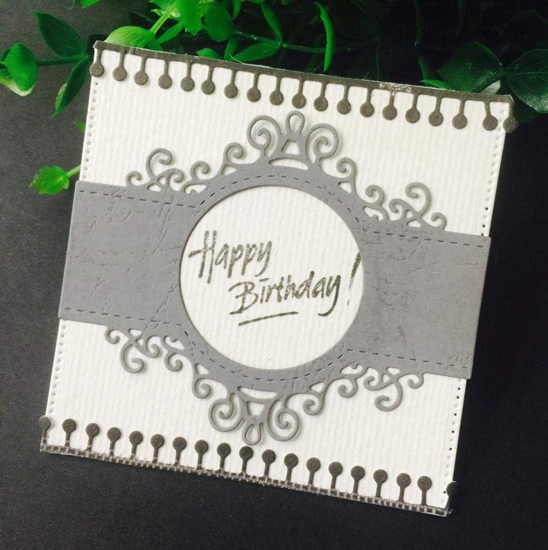 Cutting Dies,Pollyhb Metal Cutting Dies Stencils for Scrapbooking Embossing DIY Crafts,Flower Stripe Frame Bands,Cut Die for Card Making Scrapbooking E:70x108mm