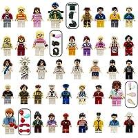 YYKMEI Minifigures Set of 40+7 Include Building Bricks People