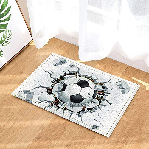 Soccer Decor A Football Broken Stone Wall Sprot Bath Rugs for Bathroom Non-Slip Floor Entryways Outdoor Indoor Front Door Mat Kids Bath Mat 15.7x23.6in Black White by vvcxbx