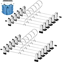 WYCTIN Métal Jupe cintres, Lot DE 12 Pantalon Jupe Lâche cintres antidérapant avec Deux Clips Réglables à 360 ° Heavy Duty Short Hangers-for Enfant
