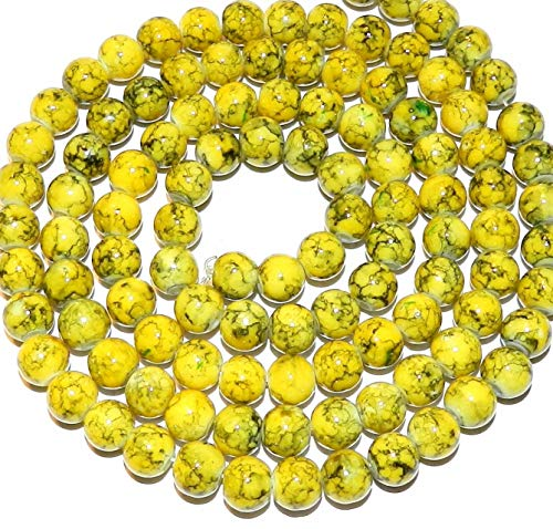 (Bead Jewelry Making Marbled Yellow & Black 8mm Round Baked Varnsh Glass Beads 32