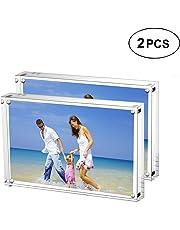 AMEITECH Cadre de Photo Magnétique, Cadres de Photos Acryliques, 10 + 10 mm D'épaisseur Ecran de Carte de Visite sans Cadre