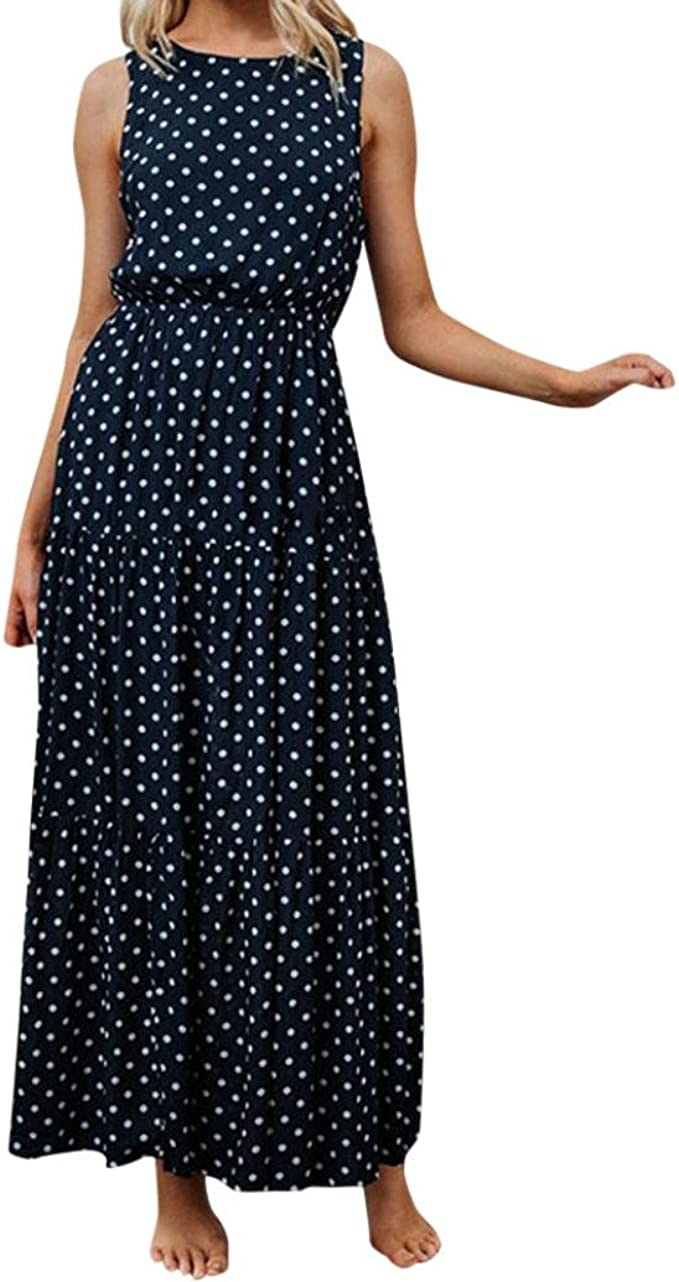 Ansenesna Kleid Damen Sommer Lang Elegant Schick Punkte Maxi Sommerkleider  Vintage Viscose Abendkleid Für Party Hochzeit Gast