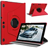 Lenovo Tab 2 A10-70 Case, Pasonomi® 360 Degree Rotating Magnetic Smart PU Leather Stand Cover Case With Smart Cover Auto Wake / Sleep Feature for Lenovo Tab 2 A10-70 10.1 Inch Android Tablet (360 Rotating Series Red)