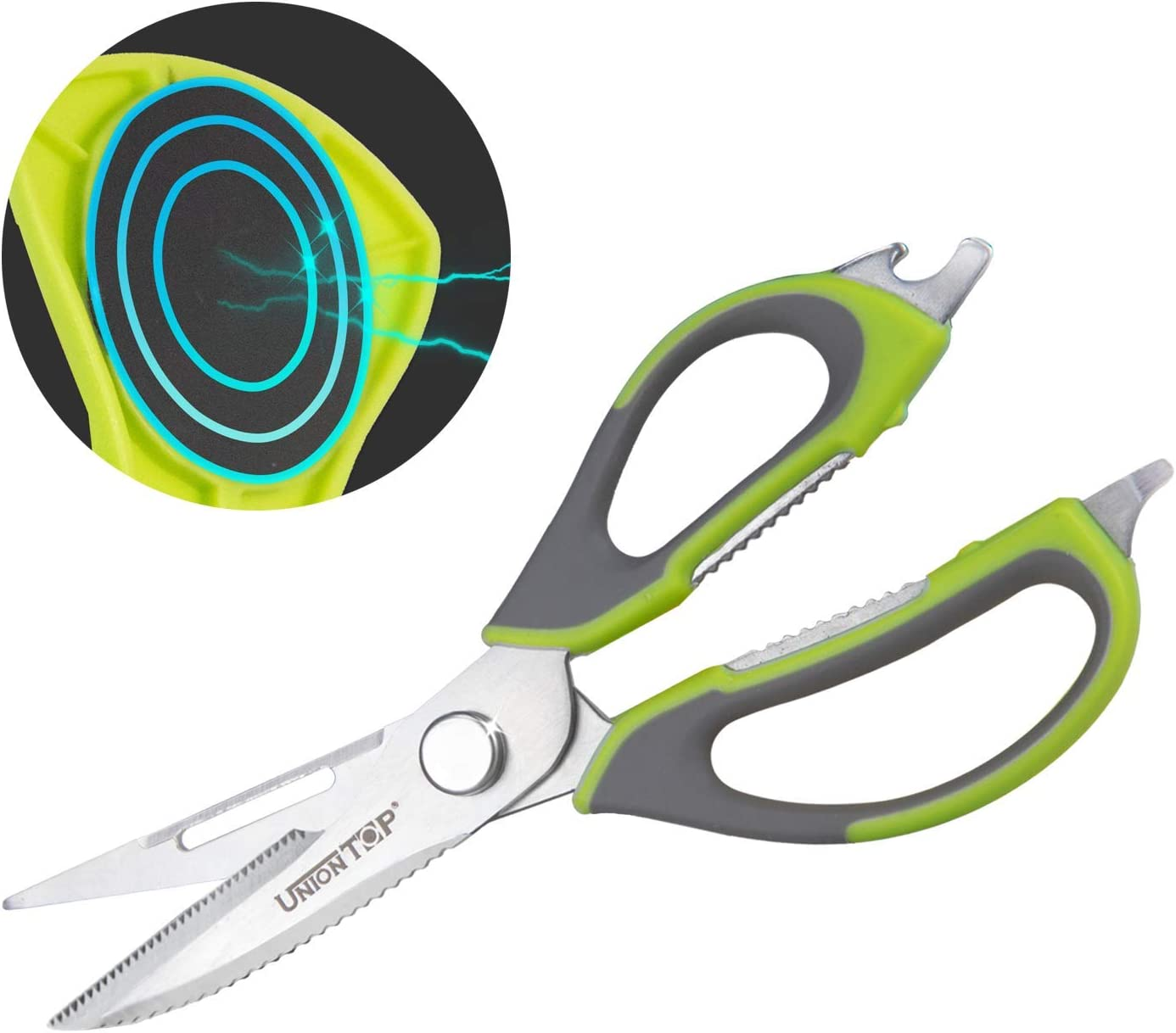 Green Shears Stainless Steel Kitchen Cooking Food Scissors Dishwasher Safe Heavy Duty Meat Scissors Sharp Shears for Herbs, Fish, Poultry, Vegetables, BBQ, Chicken, Come Apart Scissors W/ Sheath